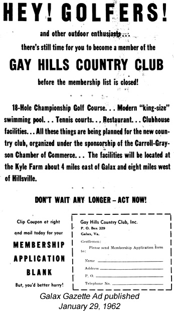 Ad for membership from Galax Gazette January 29, 1962